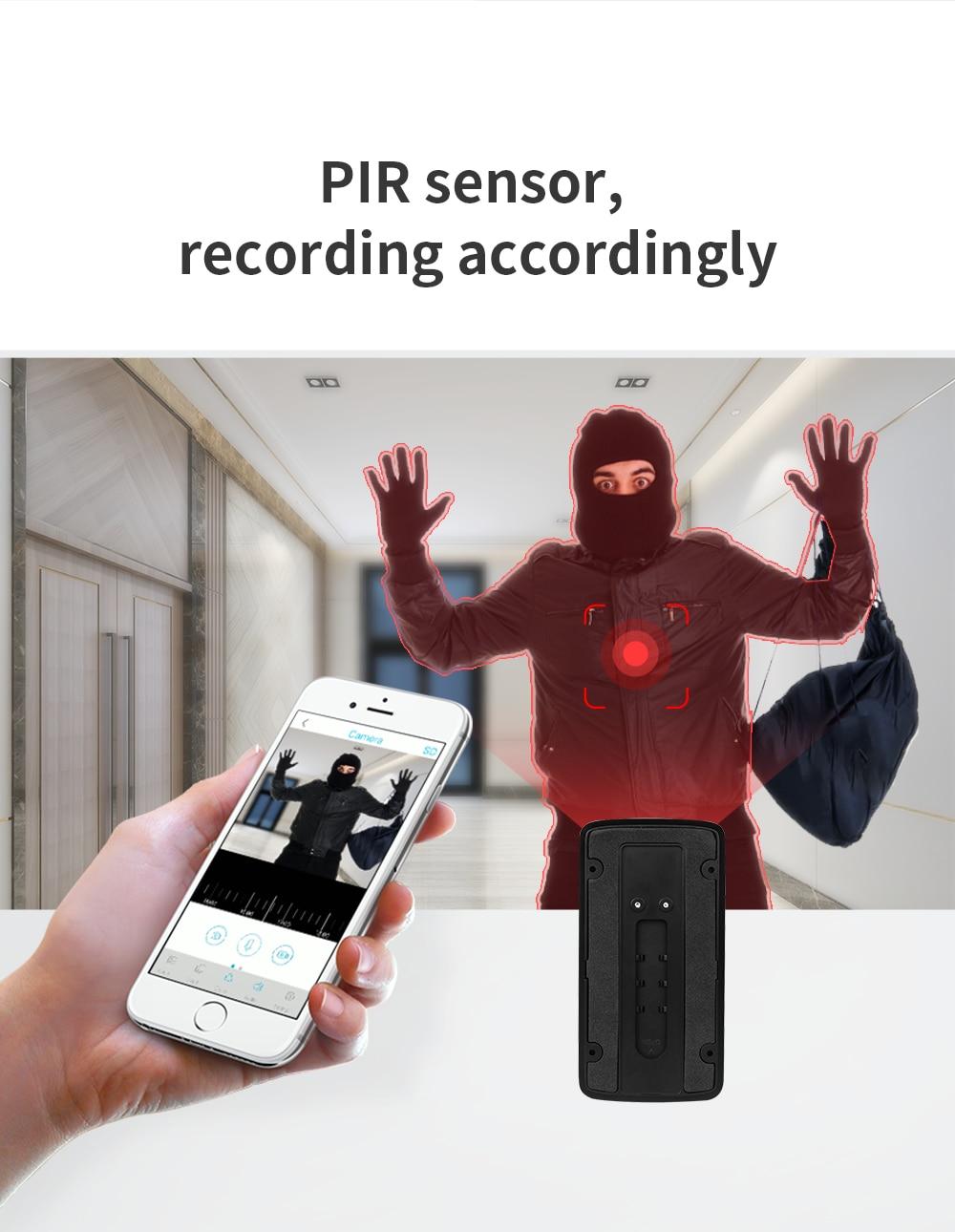 INQMEGA Wifi vidéo sonnette sans fil caméra de sécurité téléphone maison porte cloche alarme télécommande téléphone Vision nocturne en toute sécurité - 5