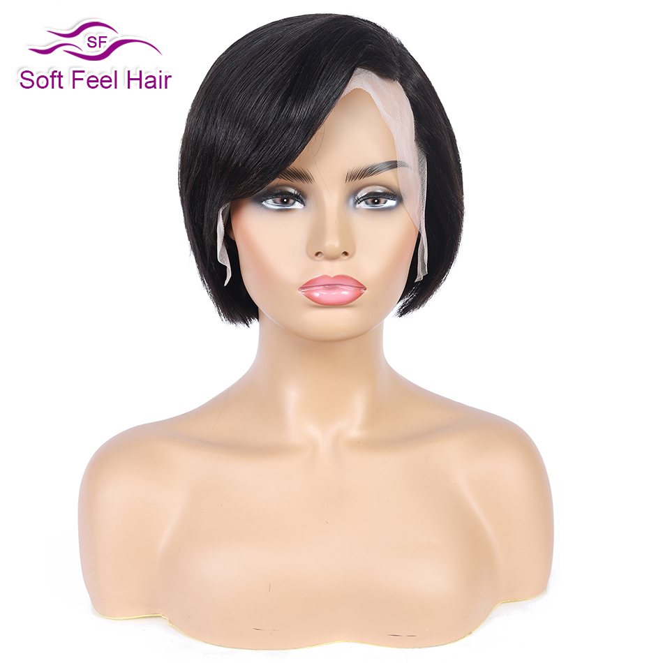 Soft Feel Hair Bob Lace Front Wigs 13x4 Lace Front Human Hair Wigs For Black Women Remy Brazilian Straight Short Wig 150 Density