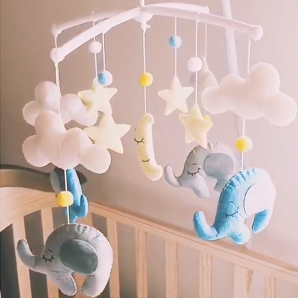 Baby Rattles Crib Mobile Rattles Musical Crib Mobile Bed Rattle Bell Toys Set  0-12 Months Baby Remote Control Rotating