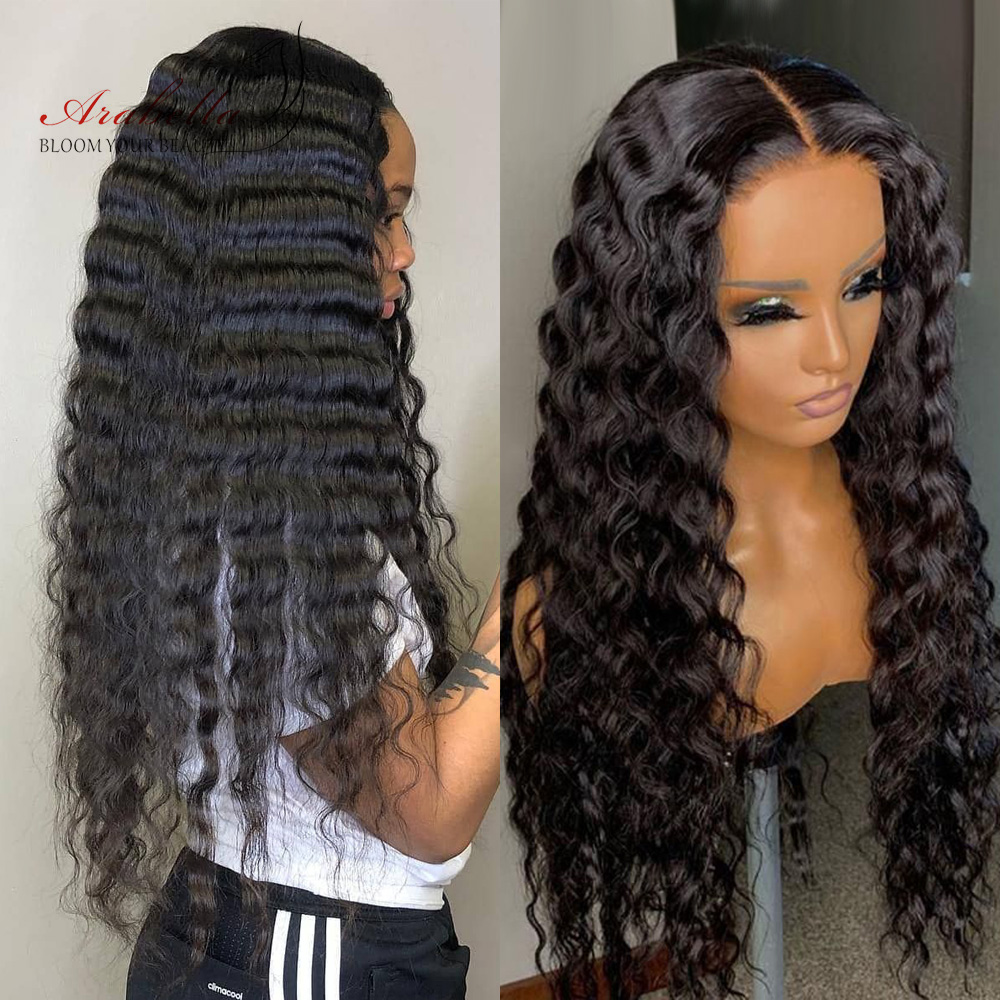 Loose Deep Wave Lace Front Wig 100%  Wigs Arabella  Hair Lace Frontal Wig Pre Plucked Lace Deep Curly Closure Wig 1