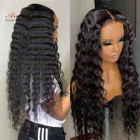 Peluca con malla Frontal de ondas profundas para mujer, 100% de cabello humano Arabella, cabello Remy, peluca de encaje Frontal, peluca de cierre rizado profundo de encaje prearrancado