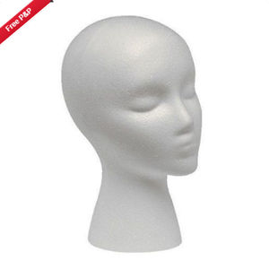 Female Mannequin Head White Deflection Head Polystyrene Styrofoam Foam Head Model Stand Wig Hair Hat Headset Display Stand Rack