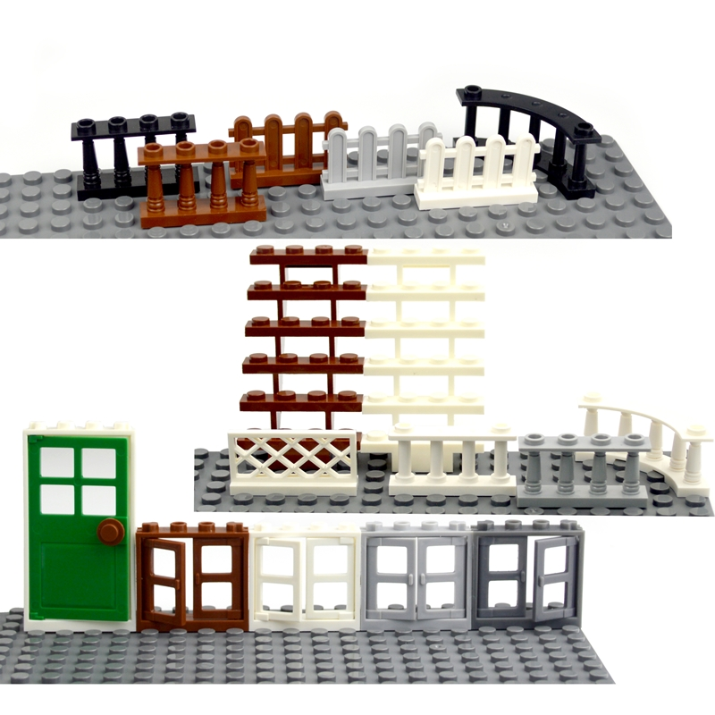 Building Blocks Accessories door windows City House Fence Stairs Ladder MOC Parts Bricks Toy for kid Compatible All Brands