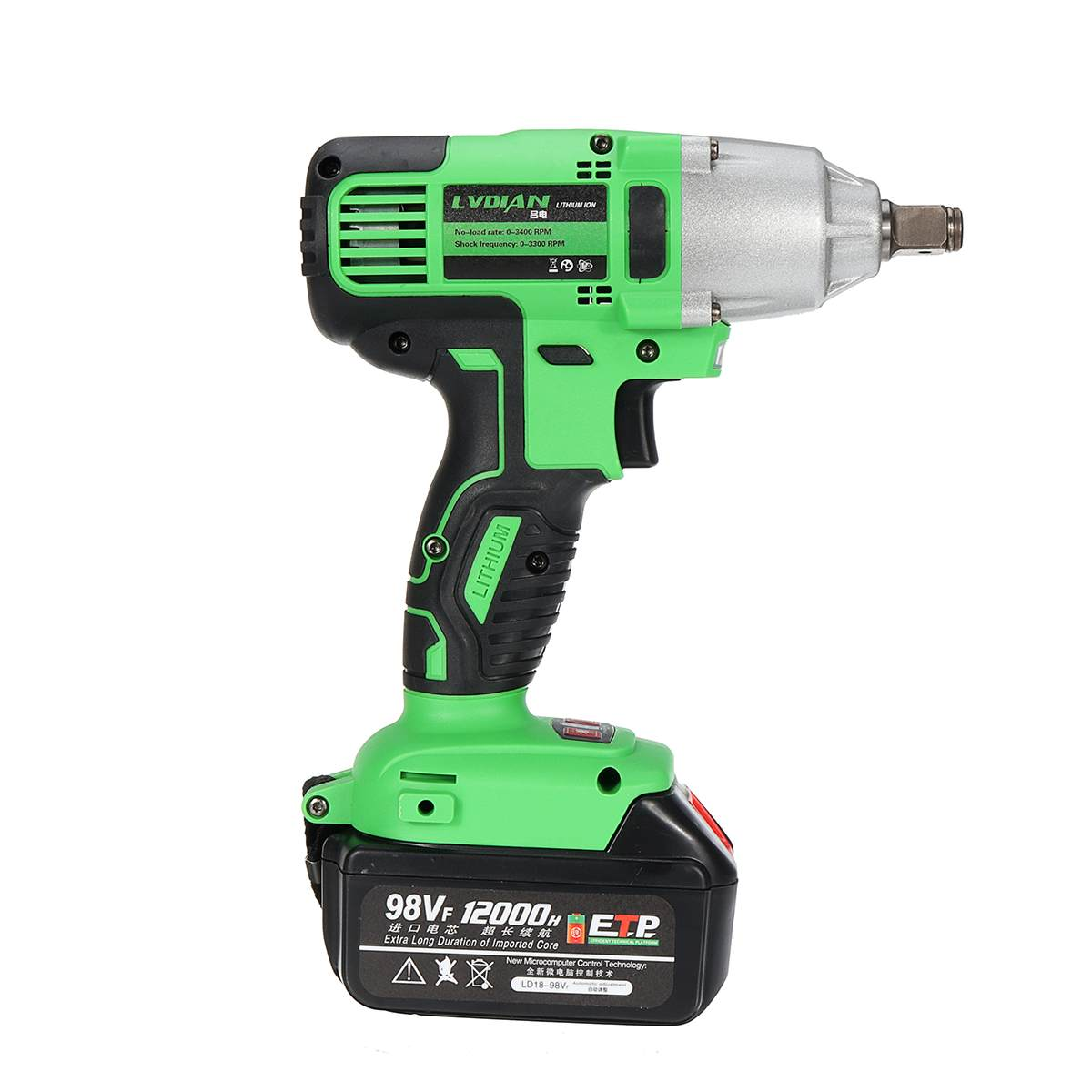 Tools : 98VF 520Nm Cordless Electric Impact Wrench Powerful Drill Screwdriver Home DIY Electric Wrench Power Tool with 12000mah Battery