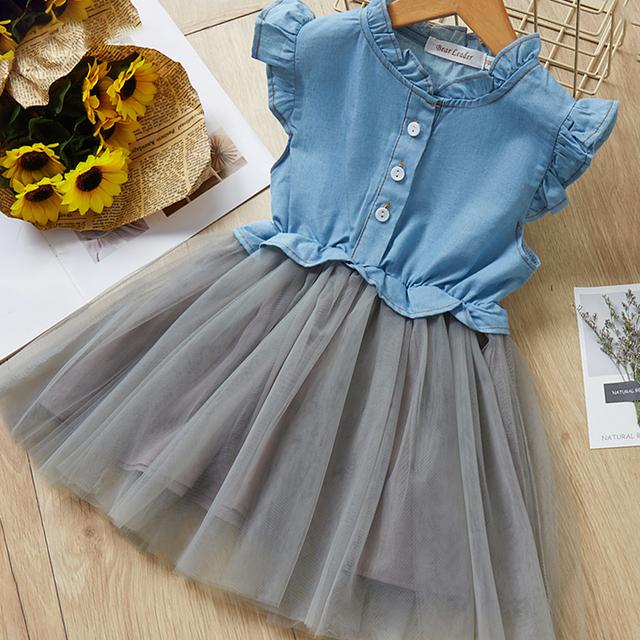 Autumn Fashion Style Denim Long-Sleeve Mesh Skirt Sets Small For Kids Girls Sets