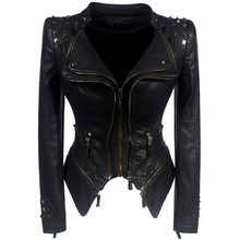 Ladies winter fall black fashion biker jacket motorcycle jacket
