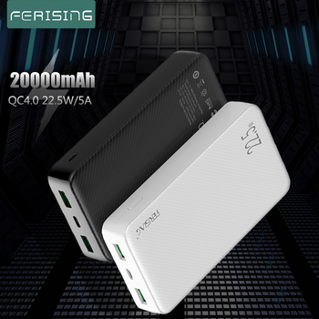 FERISING 20000mAh SCP VOOC 5A Power Bank 22.5W USB Type C External Battery Charger Quick Charge QC3.0 4.0 PD Powerbank Mi banks