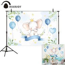 Allenjoy photographic background elephant leaves balloons banner stars baby newborn birthday photocall photo shoots photozone