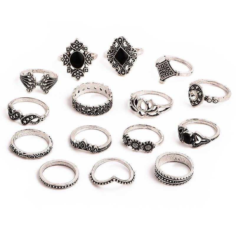15 ชิ้น/เซ็ต Bohemian Retro แหวนคริสตัลดอกไม้เรขาคณิต Hollow Lotus อัญมณีแหวนเงินชุดผู้หญิงงานแต่งงานครบรอบของขวัญ