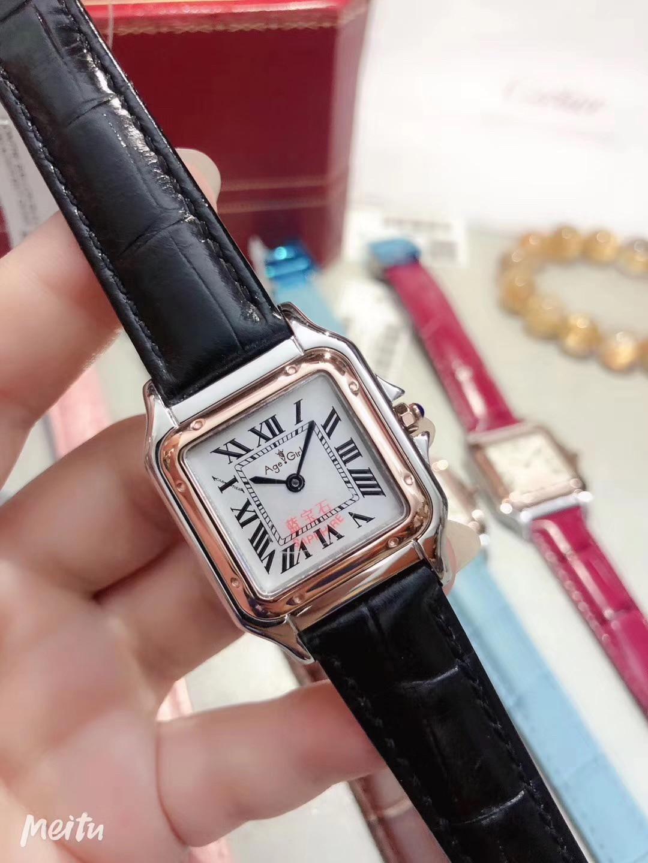 Nouveau hommes femmes FamousJapan Quartz noir blanc gris marron rose rouge saphir argent montre carrée dame Rome cadran Santos montres