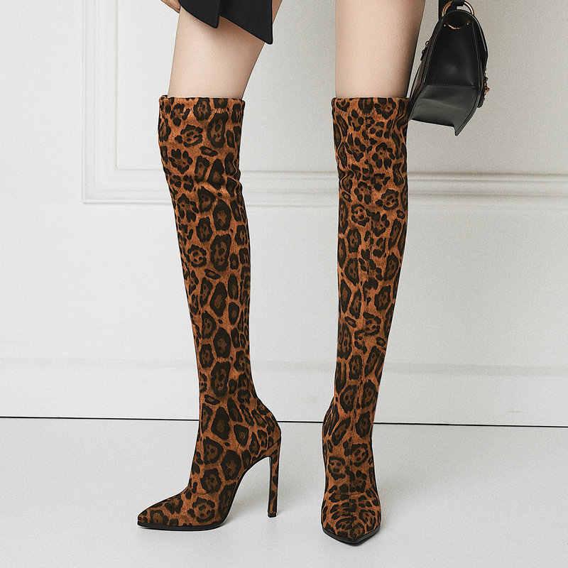 Seksi Leopar Streç Uyluk Yüksek Çizmeler Kadın 2019 Kış Stiletto Topuk Diz Çizmeler Bej Sarı Sivri Burun Uzun çizmeler
