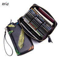 Western Rfid Feather Hand Painting Organ Leather Long Women Wallet Vintage Many Card Holders Women Purse