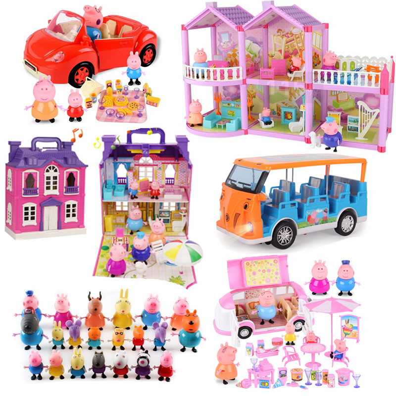 Peppa Pig George Pepa Pig Family  Friends Toys Doll Real Scene Model Amusement Park House PVC Action Figures New Year Pig Toys