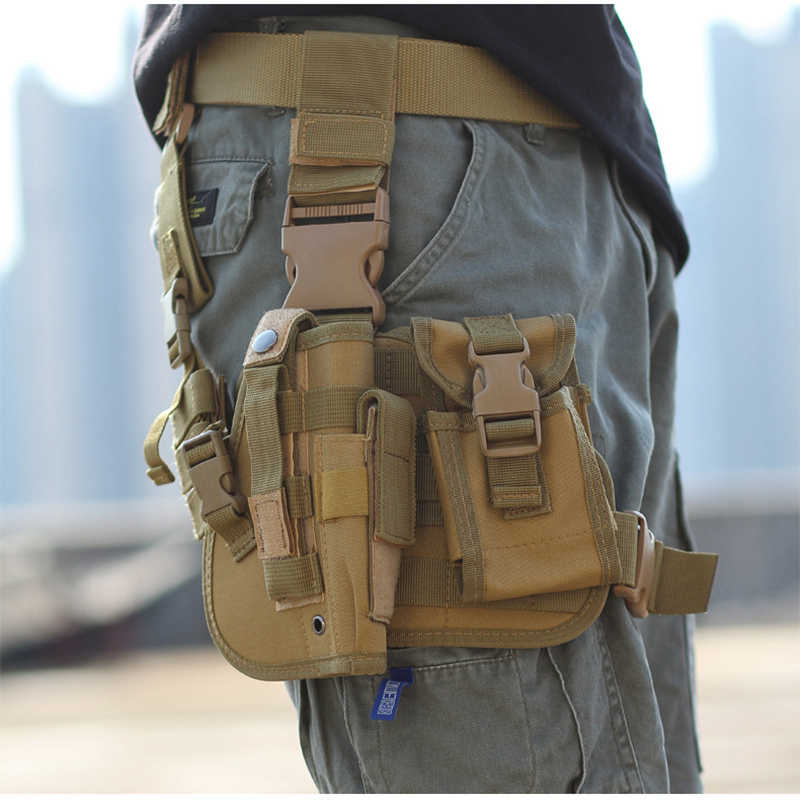 Тактическая ножная кобура для пистолета, армейская многофункциональная камуфляжная сумка, завязанная ногой, защитный чехол, карман для телефона, Охотничья Экипировка