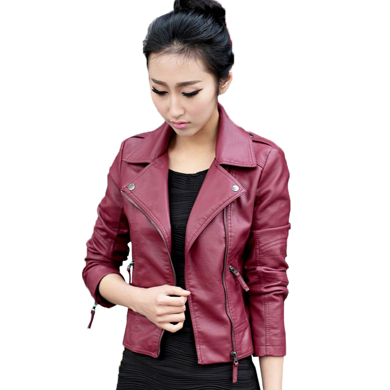 Women Faux Leather Jackets Red 2019 Autumn Slim Cool Lady Basic Jacket Coats Sweet Female Zipper Jacket Coat Outwear Plus Size