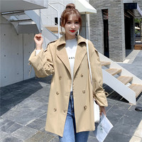 Autumn and Winter Korean Style Windbreaker Solid Color Long sleeved Belt Loose Single breasted British Wind Casual Coat Female