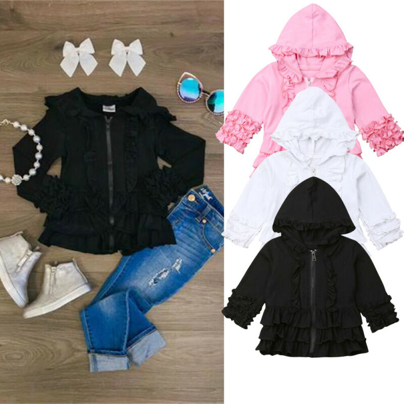 US Kids Baby Toddler Girl Hooded Coat Jacket Casual Windproof Zipper Outerwear