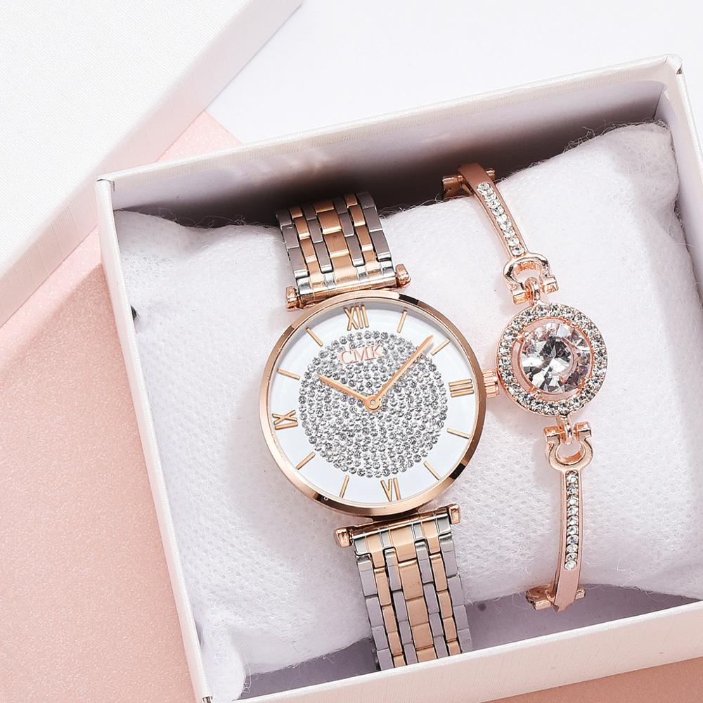 Fashion Set Women Watches Simple Romantic Rose Gold Watch Women's WristWatch Ladies Watch Relogio Feminino Reloj Mujer Dropship