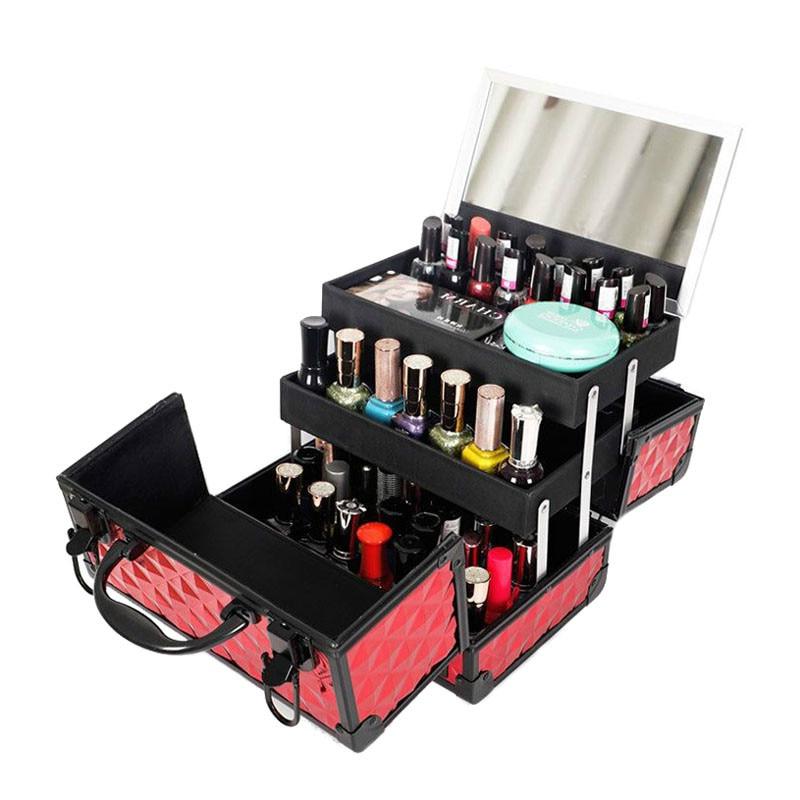 Professional Aluminium Alloy Makeup Box Organizer Travel Cosmetic Case Nail Polish Jewelry Storage Box Beauty Organization