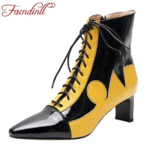 цены FACNDINLL genuine leather women ankle boots shoes sexy high heel pointed toe zipper woman dress party autumn winter riding boots