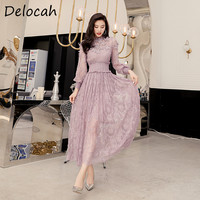 Delocah Elegant Summer Dress Fashion Runway Women elastic Pure purple Long sleeve Butterfly applique Ladies Midi Dress Vestoidos