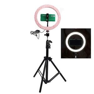 Image 1 - 調光可能な 26 センチメートルピンクled selfieリングライトと 210 センチメートル三脚スタンドリングランプ電話ホルダーのための写真ビデオクリップNE004