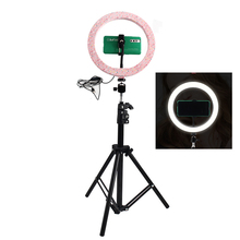 Dimmable 26CM Pink LED Selfie Ring Light With 210CM Tripod Stand Ring Lamp Phone Holder For Makeup Photography Video Clip NE004