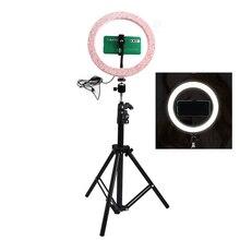 Dimmerabile 26 CENTIMETRI Rosa LED Selfie Anello di Luce Con 210 CENTIMETRI Treppiede Lampada Anello di Supporto Del Telefono Per Il Trucco Fotografia video Clip NE004
