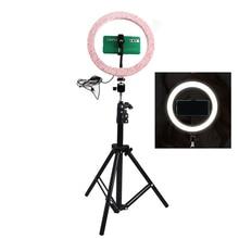 Réglable 26CM rose LED Selfie anneau lumière avec 210CM trépied support anneau lampe support pour téléphone pour maquillage photographie vidéo Clip NE004