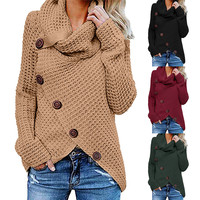 YELITE Autumn Winter Long-sleeved sweater five-button high-necked pullover solid color women's casual Simple knitwear loose tops