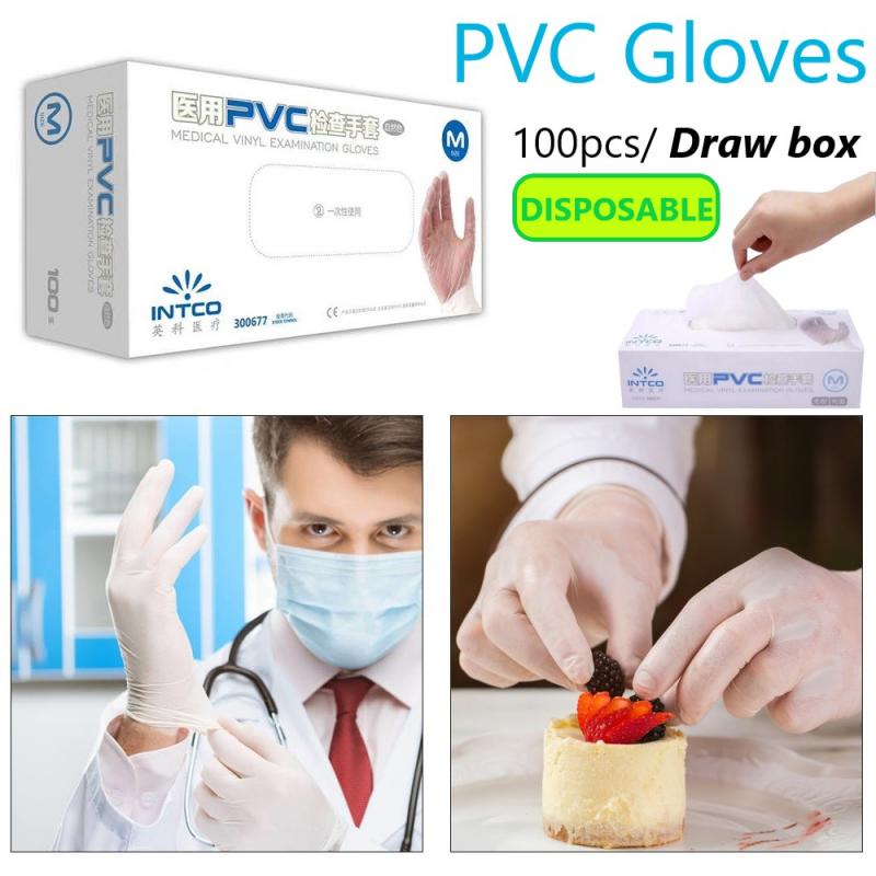 100pcs Disposable Latex Gloves PVC Finger Cot Gloves Anti Touch Protective Safety Disposable Gloves Protective Fingertip