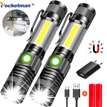 80000LM LED Tactical Rechargeable Magnetic Flashlight Super Bright LED, Zoomable with Cob Side light LED Torch Hiking Emergency