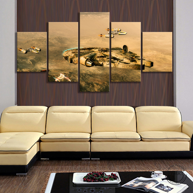 5 Piece Star Wars Video Games Art Wall Decor Paintings HD Fantasy Art Spaceship Universe Wall Paintings Canvas Art Home Decor image