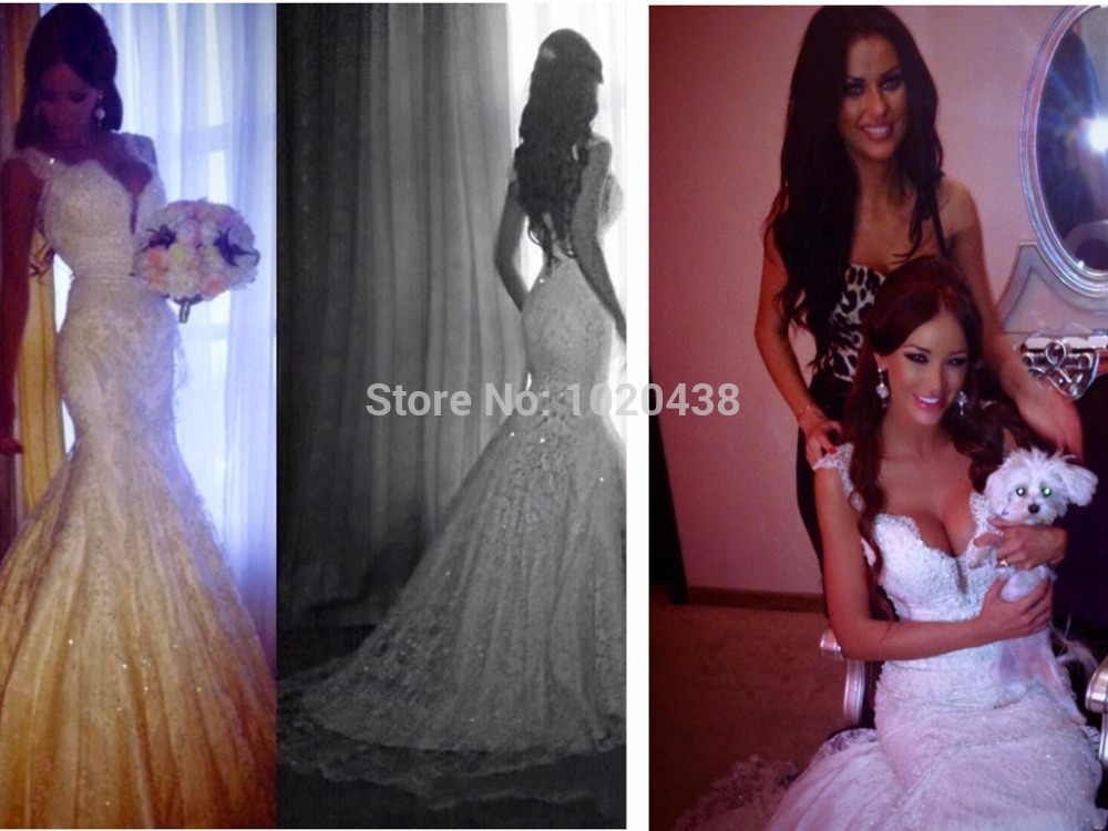 Romantic Vestido De Noiva Glamorous 2015 Mermaid Wedding Dresses Backless Lace V-Neck Crystal Appliqued Top Quality Bridal Gowns