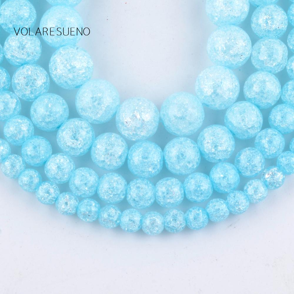 Natural Light Blue Snow Cracked Crystal Round Loose Beads For Jewelry Making 6 12mm Spacer Beads Fit Diy Bracelet Necklace 15 quot in Beads from Jewelry amp Accessories