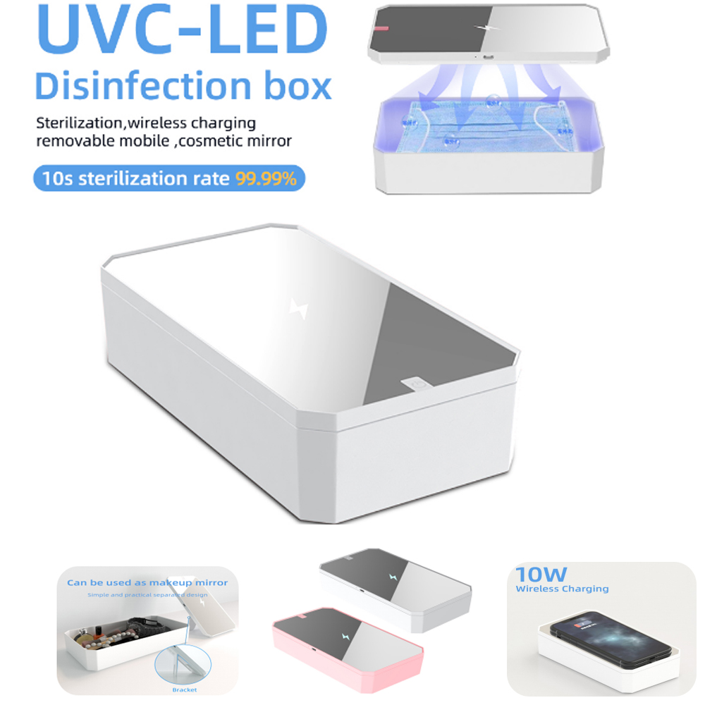 2 In 1 UV Smartphone Sanitizer Wireless Charger Watch Jewelry Cleaner Portable Disinfector Box UVC Light Ozone Sterilizer