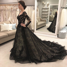 цена на Black Lace Wedding Dress Long Sleeve Vintage Design A Line Long Trail Gothic Bridal Gowns Robe De Mariage Deep V Neck