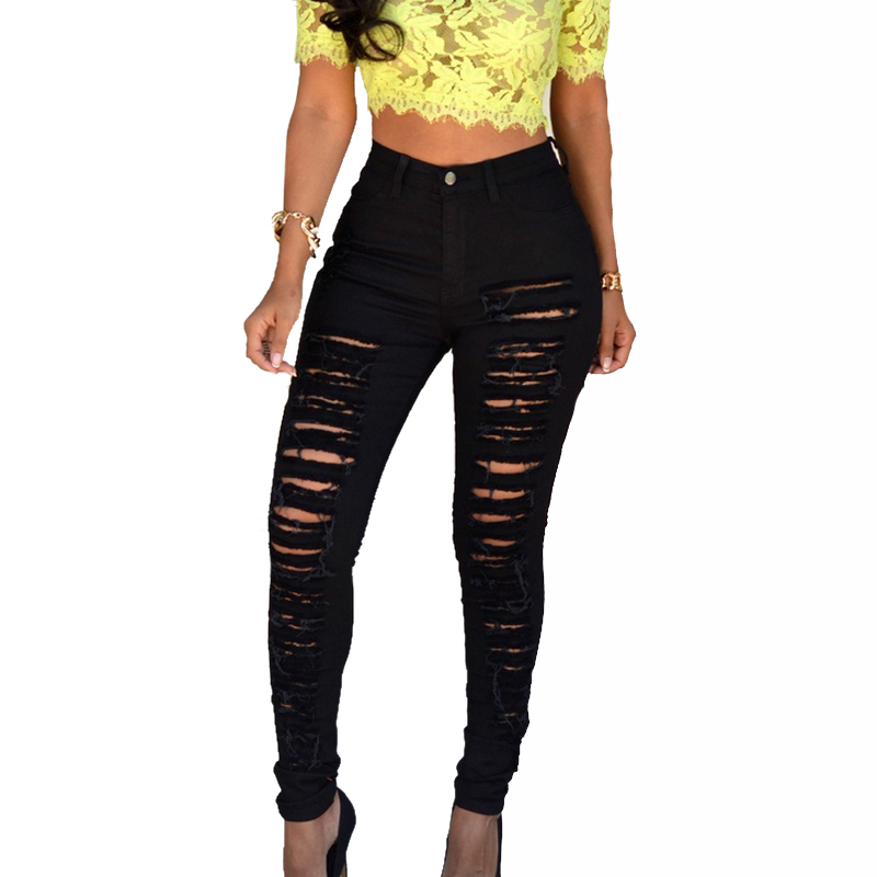 Newest Leggings Black Jeans Woman High Waist Push Up Skinny Ripped Jeans Denim Pant Sexy Ladies Jeans Femme Women Trousers