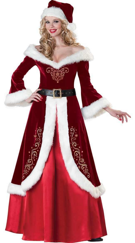 סט מלא של חג מולד תלבושות סנטה קלאוס למבוגרים אדום חג המולד בגדי גברים נשים שמלת סנטה קלאוס תלבושות יוקרה חליפה