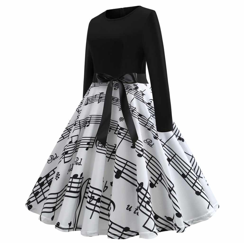 נשים בתוספת גודל שמלת חג המולד דיגיטלי הדפסת גדול נדנדה ארוך שרוול O-צוואר המפלגה שמלות עם אבנט אלגנטי גבירותיי שמלות