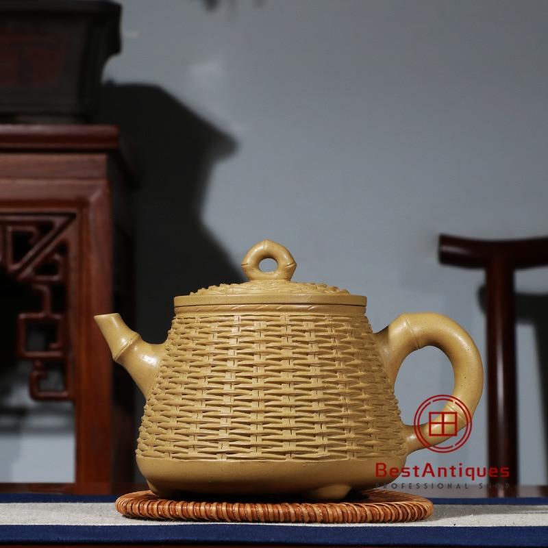 Rare handmade yixing zisha Purple clay teapot Chinese characters 450cc