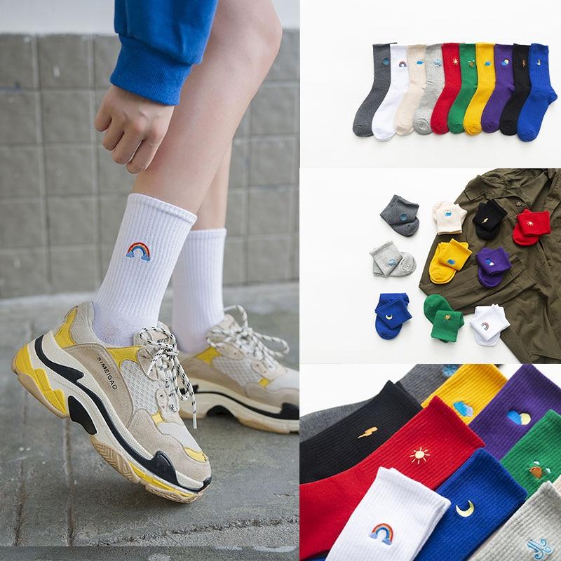 2019 New Fashion Korean Women Style Long Socks Meia Fun Sun Moon Windmill Rainbow Pattern Cotton Socks Cartoon Weather Sox