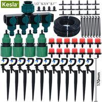 Kesla 5 m-50 m micro kit de rega de irrigação por gotejamento jardim automático sistema de irrigação com efeito de estufa 180 ° bocal dripper estacas apoio