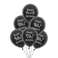 12pcs/lot happy 30 40 50 60 70th birthday balloons black white birthday party decorations happy fucking birthday banners flags