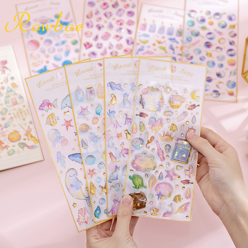 ROWBOE Cute Stationery Magic Planet Crystal Drop Stickers Transparent Three-dimensional Hand Account Diary Decoration Stickers