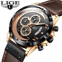 LIGE zegarek Top marka mężczyzna zegarki z chronografem sport wodoodporny zegar człowiek zegarki wojskowy luksusowy męski zegarek analogowy kwarcowy tanie tanio 26cm Moda casual QUARTZ 3Bar Klamra CN (pochodzenie) STAINLESS STEEL 12mm Hardlex Kwarcowe Zegarki Na Rękę Papier Skórzane