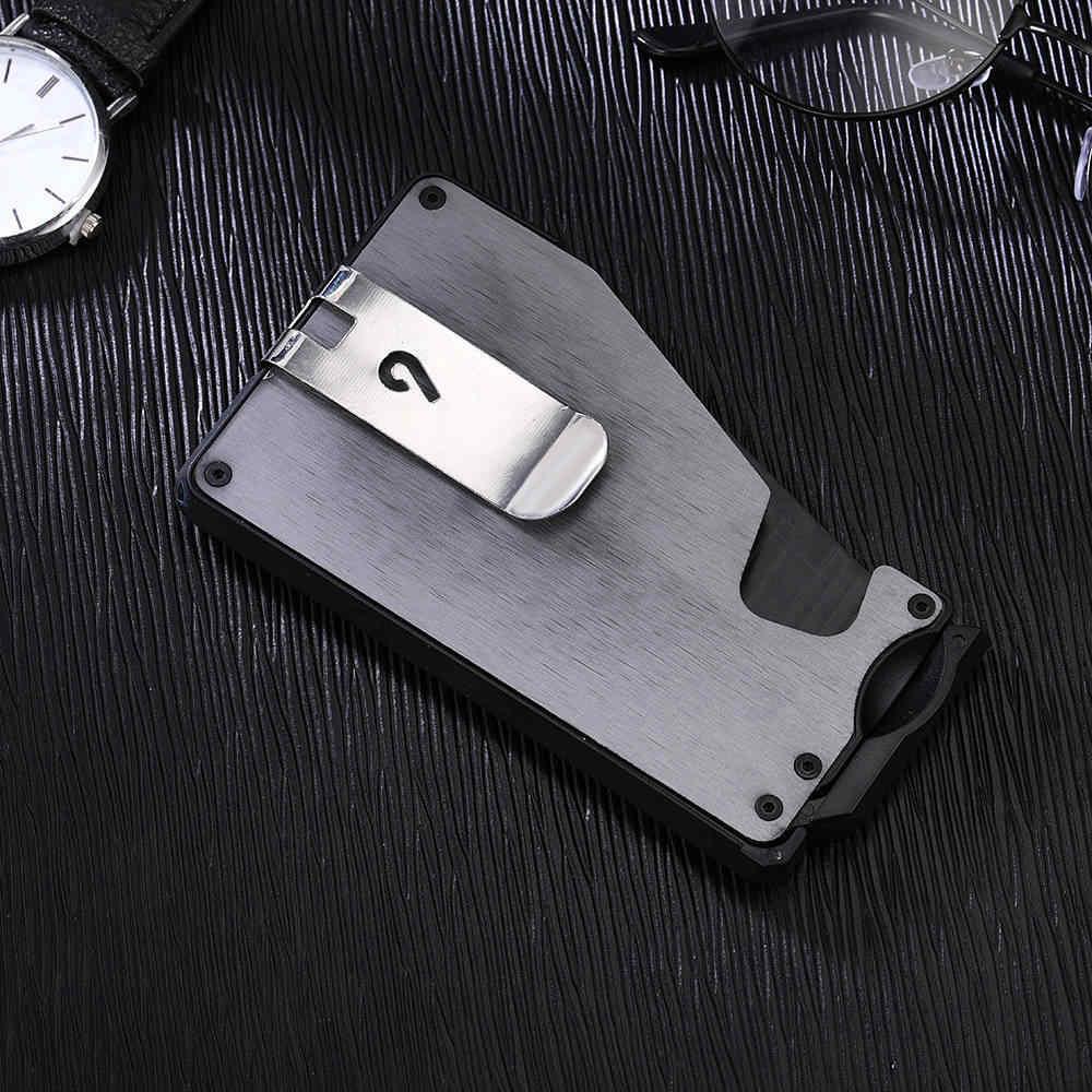 1 ชิ้นอลูมิเนียมกระเป๋าสตางค์ RFID ป้องกัน bentoy สำหรับผู้ถือบัตรกระเป๋าถือเหรียญ