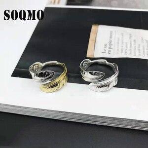 SOQMO Feather Ring 100% prawdziwe 925 srebrny pierścień dla mężczyzn i kobiet etniczne regulowane otwarcie Vintage biżuteria SQM296