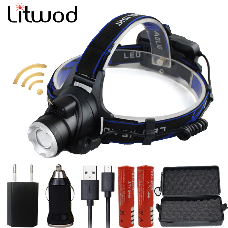Z20Litwod 568-B XM-L2 U3 Sensor LED Headlamp Headlight Aluminum Zoom Head Flashlight Torch Adjustable Led Head Lamp Front Light