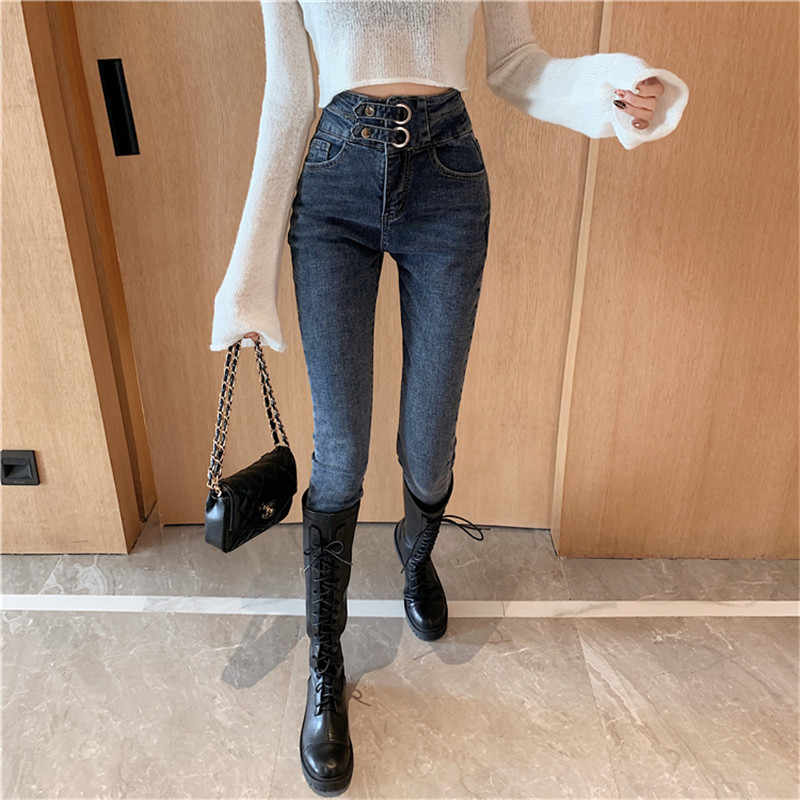 JUJULAND jean jeans for women with high waist pants for women plus up large size skinny jeans woman denim modis streetwear 9730